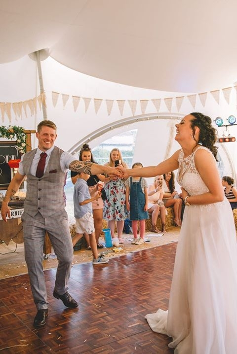 Bride and Groom Shelley and James on the dancefloor