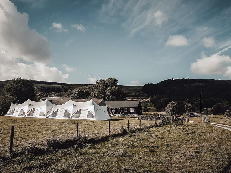 Two T40 marquees connected together in Castleton