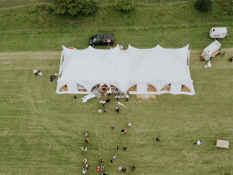 Double Trapeze Marquee Hire Yorkshire Drone Shot